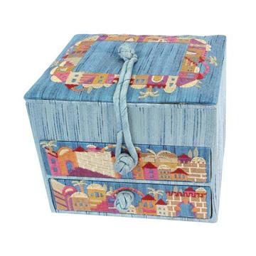 תמונה של קופסא תכשיטים רקומה - 2 מגירות - ירושלים כחול - BE-3B   יאיר עמנואל