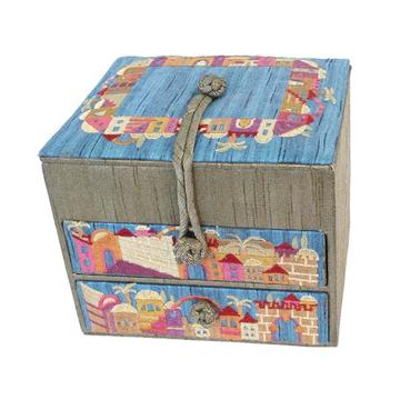 תמונה של קופסא תכשיטים רקומה - 2 מגירות - ירושלים זהב - BE-3G   יאיר עמנואל