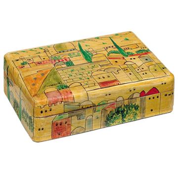 תמונה של קופסת תכשיטים בינונית - ירושלים - חום - BM-4   יאיר עמנואל