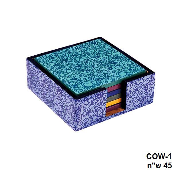 תמונה של סט 6 תחתיות לכוסות - עץ מודפס - רימונים אורינטלי - COW-1 | יאיר עמנואל