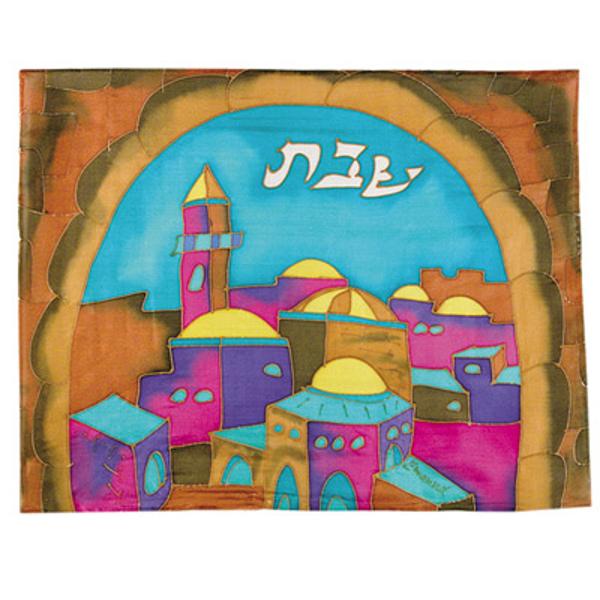 תמונה של כיסוי חלה - ציור על משי - שער צבעוני - CSE-8   יאיר עמנואל