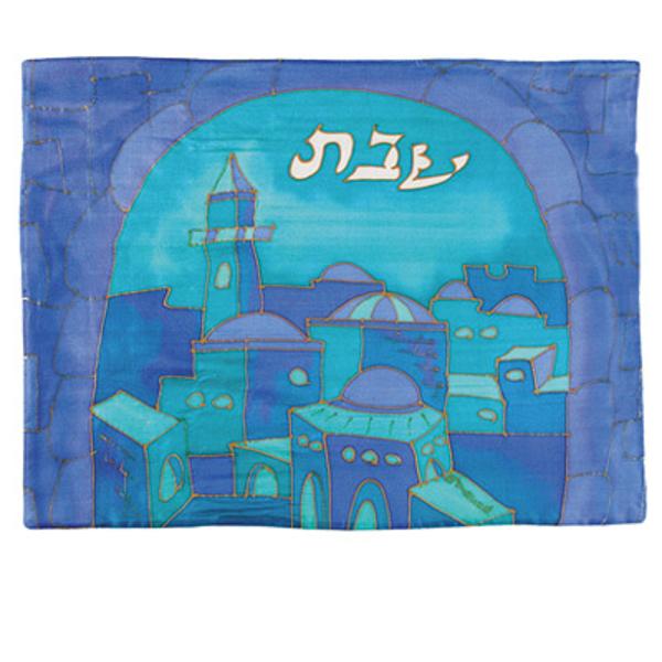 Picture of כיסוי חלה - ציור על משי - שער כחול - CSE-9   יאיר עמנואל