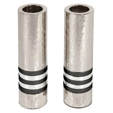 Picture of פמוטים - גליל - עבודת פטיש - 5 טבעות - שחור - CSO-5 | יאיר עמנואל
