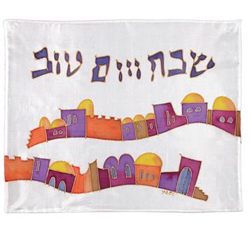 תמונה של כיסוי חלה - ציור על משי - ירושלים פסים - CSY-1   יאיר עמנואל