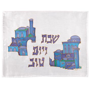 תמונה של כיסוי חלה - ציור על משי - בתים - כחול - CSY-10   יאיר עמנואל