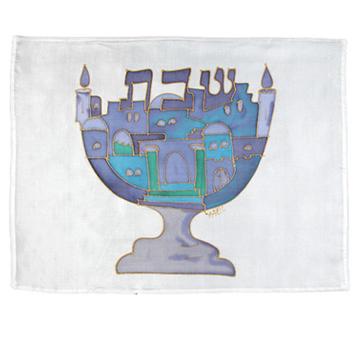 תמונה של כיסוי חלה - ציור על משי - מנורה - כחול - CSY-12   יאיר עמנואל