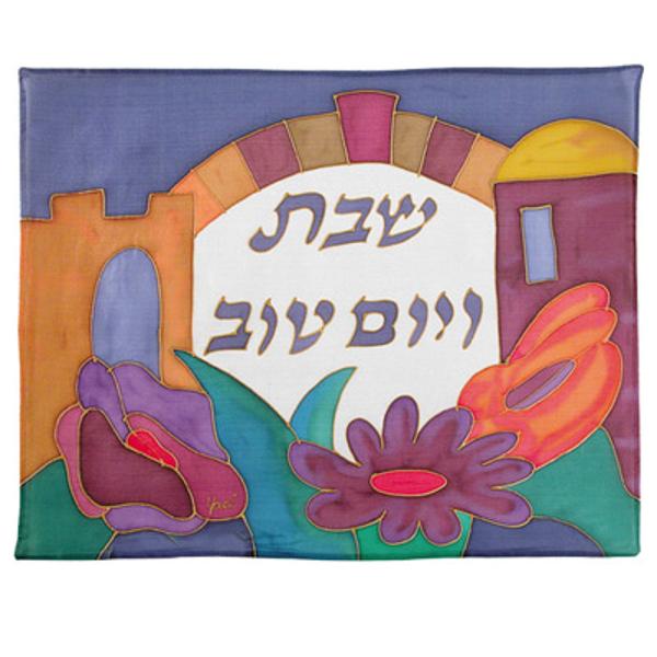 תמונה של כיסוי חלה - ציור על משי - שער + פרחים - CSY-13 | יאיר עמנואל