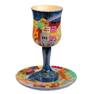 תמונה של גביע קידוש + תחתית - ציור יד על עץ - ירושלים - CU-1 | יאיר עמנואל