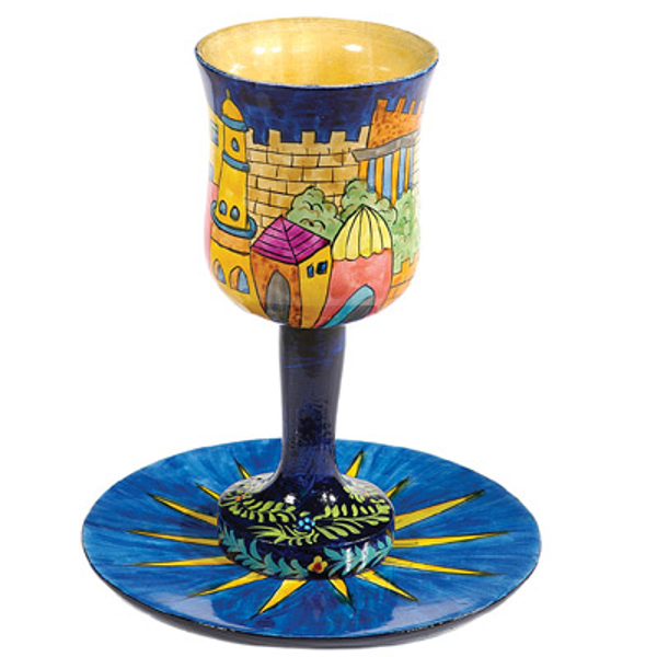 תמונה של גביע קידוש + תחתית - ציור יד על עץ - אורינטלי - CU-11 | יאיר עמנואל