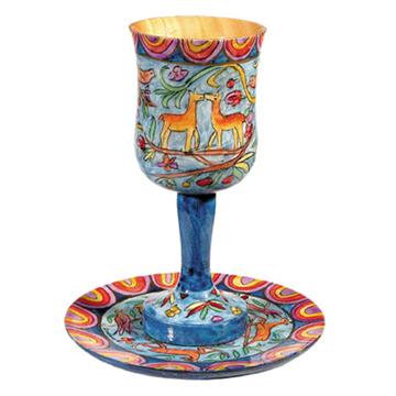 תמונה של גביע קידוש + תחתית - ציור יד על עץ - איל - CU-2 | יאיר עמנואל
