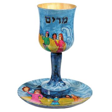 תמונה של גביע קידוש + תחתית - ציור יד על עץ - כוס מרים - CU-7 | יאיר עמנואל