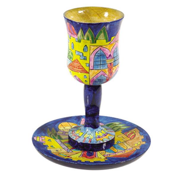 תמונה של גביע קידוש + תחתית - ציור יד על עץ - ירושלים מודרני - CU-9   יאיר עמנואל