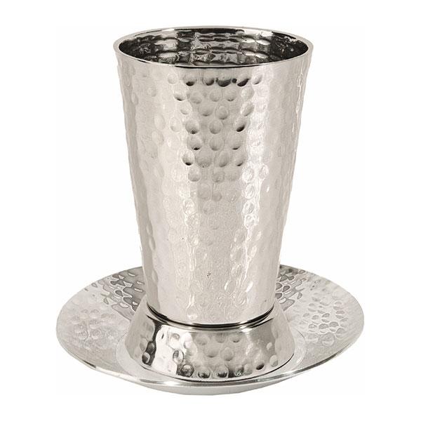 תמונה של כוס קידוש - נירוסטה - עבודת פטיש - CUE-1   יאיר עמנואל