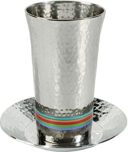 תמונה של כוס קידוש - עבודת פטיש + 5 טבעות - צבעוני - CUG-1   יאיר עמנואל