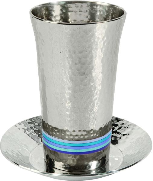 תמונה של כוס קידוש - עבודת פטיש + 5 טבעות - כחול - CUG-2   יאיר עמנואל