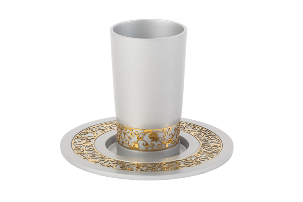 Picture of כוס קידוש + עיטור - כסוף - CUJ-1 | יאיר עמנואל