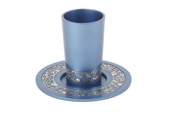 תמונה של כוס קידוש + עיטור - כחול - CUJ-3   יאיר עמנואל