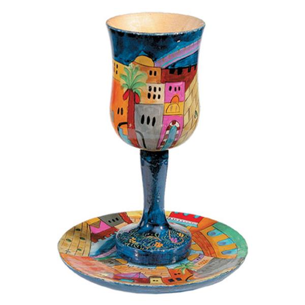 תמונה של גביע קידוש גדולה + צלחת - ציור יד על עץ - ירושלים - CUL-1 | יאיר עמנואל