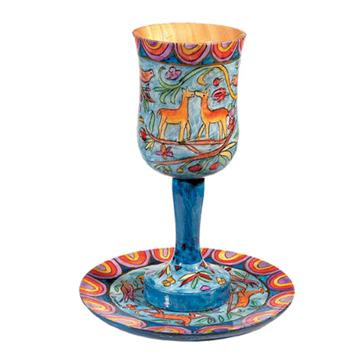 תמונה של גביע קידוש גדולה + צלחת - ציור יד על עץ - איל - CUL-2 | יאיר עמנואל