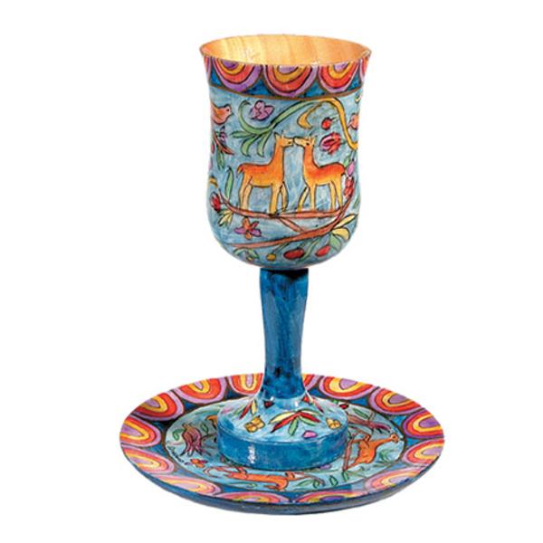 תמונה של גביע קידוש גדולה + צלחת - ציור יד על עץ - איל - CUL-2   יאיר עמנואל