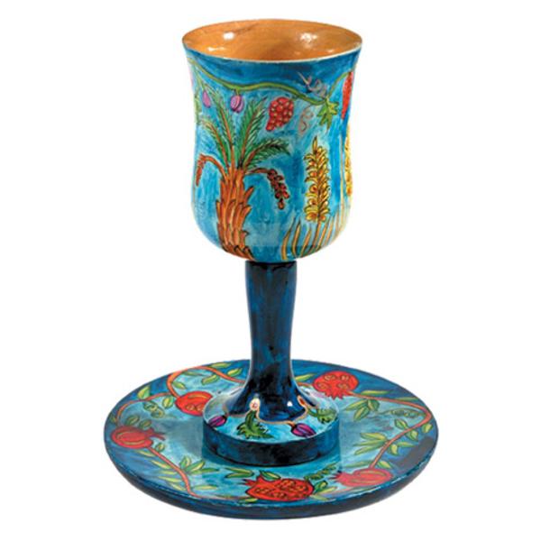 Picture of גביע קידוש גדולה + צלחת - ציור יד על עץ - שבעת המינים - CUL-3 | יאיר עמנואל