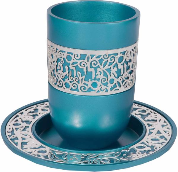 תמונה של כוס קידוש + תחרה כסף - טורקיז - CUR-2   יאיר עמנואל