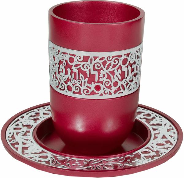 תמונה של כוס קידוש + תחרה כסף - בורדו - CUR-3 | יאיר עמנואל