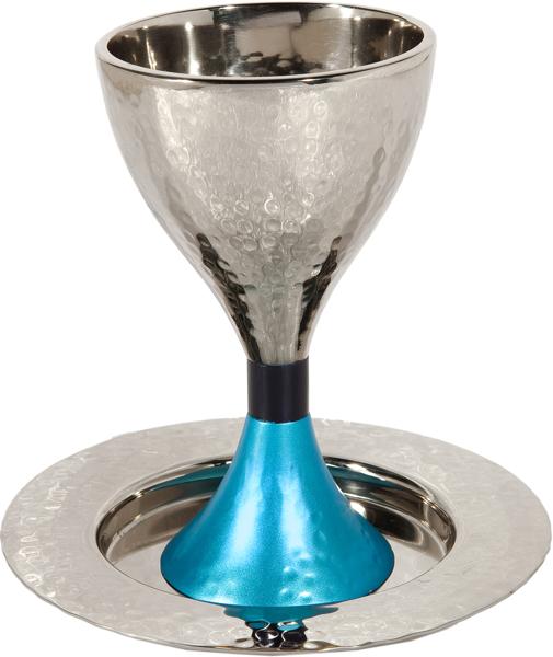 תמונה של גביע קידוש מודרנית - עבודת פטיש - כחול + טורקיז - CUS-3 | יאיר עמנואל