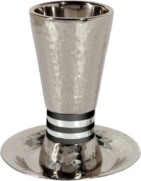 תמונה של כוס קידוש - טבעות רחבים - שחור - CUT-4   יאיר עמנואל