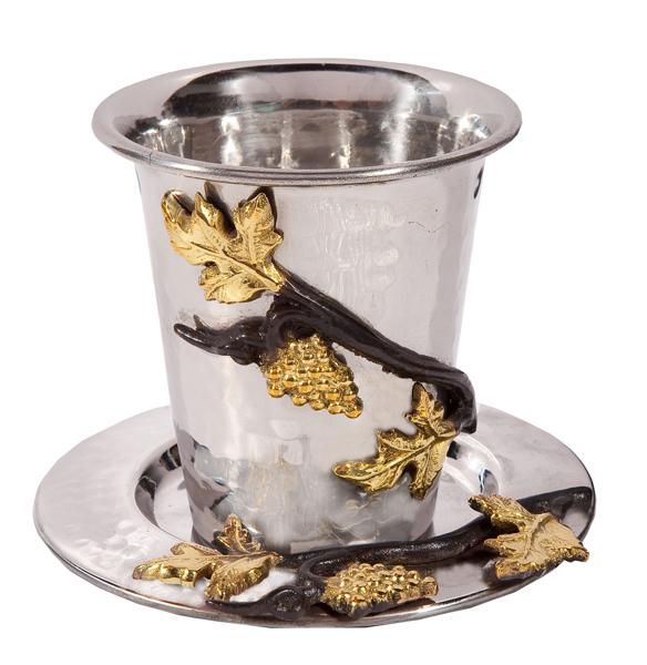 תמונה של כוס קידוש - נירוסטה - ענבים - CUU-2   יאיר עמנואל
