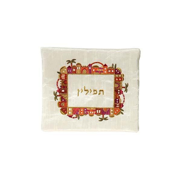 תמונה של תיק תפילין - רקמת מכונה - ירושלים - צבעוני על לבן - FA-1   יאיר עמנואל