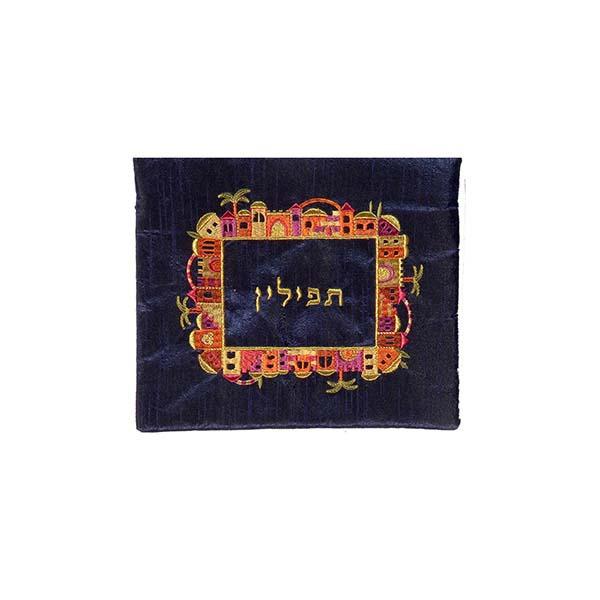 Picture of תיק תפילין - רקמת מכונה - ירושלים - צבעוני על כחול - FA-2 | יאיר עמנואל