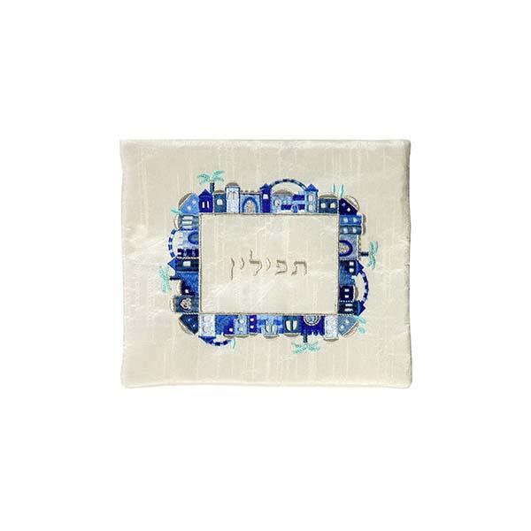 תמונה של תיק תפילין - רקמת מכונה - ירושלים - כחול על לבן - FA-3 | יאיר עמנואל