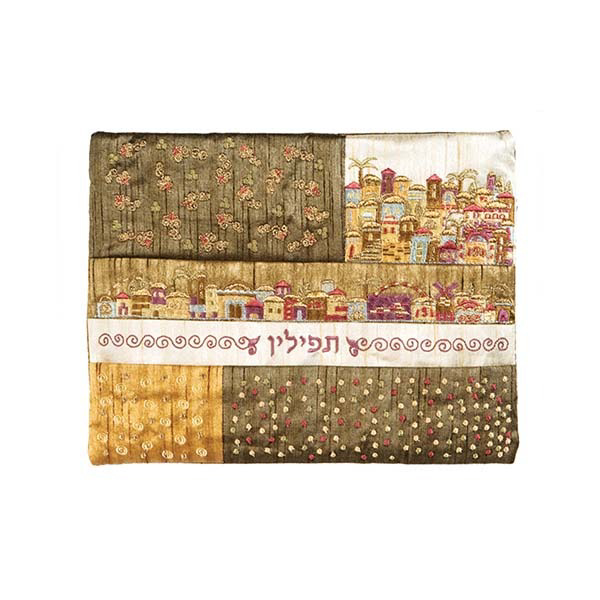 Picture of תיק תפילין - פאצ`ים + רקמה - ירושלים זהב - FE-1G | יאיר עמנואל