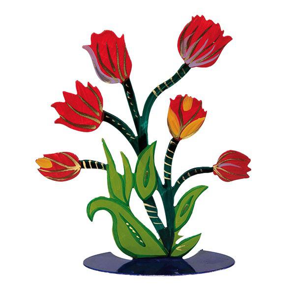 תמונה של פרח חיתוך לייזר + ציור יד - אדום - FLM-1 | יאיר עמנואל