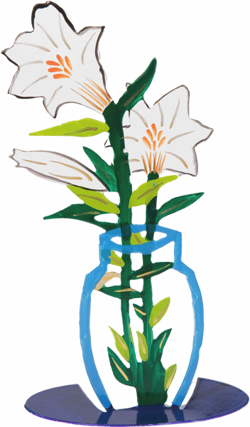 תמונה של פרח חיתוך לייזר + ציור יד - לבן - FLM-3   יאיר עמנואל