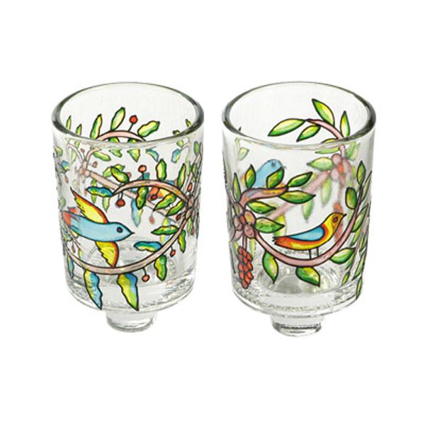 Picture of זוג כוסיות זכוכית לנרות - ציפורים - GCS-2   יאיר עמנואל