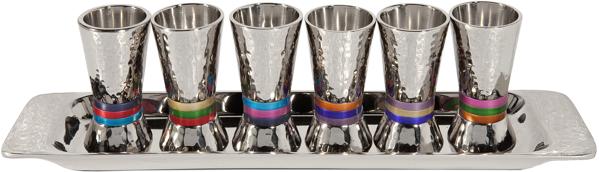 תמונה של סט 6 כוסיות + מגש - עבודת פטיש - טבעות - צבעוני - GF-1 | יאיר עמנואל