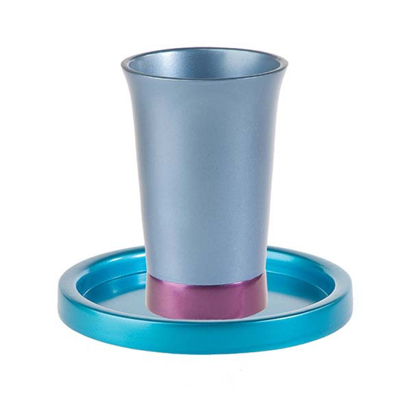 תמונה של כוס קידוש + צלחת - טורקיז + כחול - GM-2 | יאיר עמנואל
