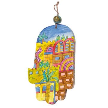 Picture of חמסה גדולה - ציור יד על עץ - ירושלים מודרני - HAL-11 | יאיר עמנואל
