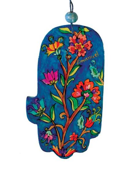 Picture of חמסה גדולה - ציור יד על עץ - פרחים - HAL-14 | יאיר עמנואל