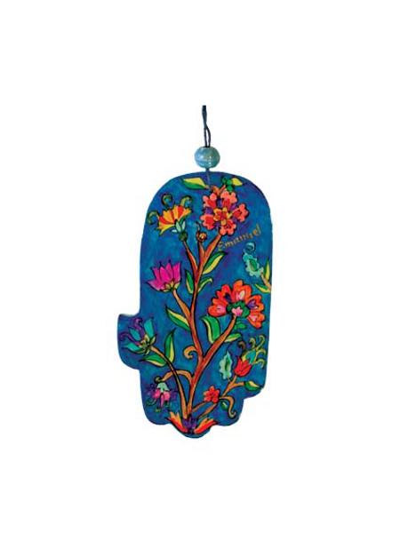 תמונה של חמסה קטנה - ציור יד על עץ - פרחים - HAS-14 | יאיר עמנואל