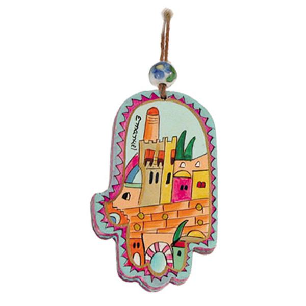 Picture of חמסה קטנה - ציור יד על עץ - ירושלים מודרני - HAS-9 | יאיר עמנואל