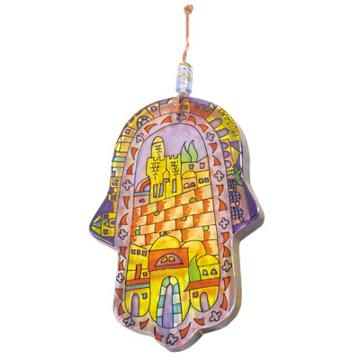 Picture of חמסה זכוכית גדולה מצוירת - ירושלים - HG-1 | יאיר עמנואל