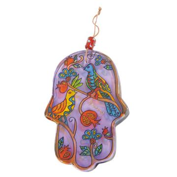 Picture of חמסה זכוכית גדולה מצוירת - ציפורים - HG-5 | יאיר עמנואל