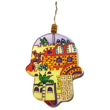 Picture of חמסה זכוכית גדולה מצוירת - ירושלים מודרני - HG-6 | יאיר עמנואל