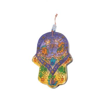 Picture of חמסה זכוכית קטנה מצוירת - מנורה - HGS-4 | יאיר עמנואל