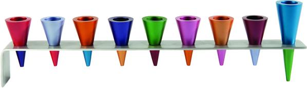 Picture of חנוכיה - פס מתכת + קונוסים- צבעוני - HMK-2   יאיר עמנואל