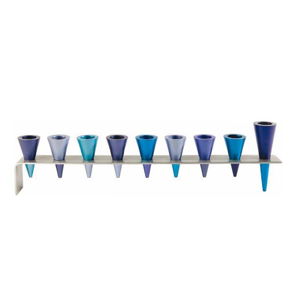 תמונה של חנוכיה - פס מתכת + קונוסים - כחול - HMK-3   יאיר עמנואל