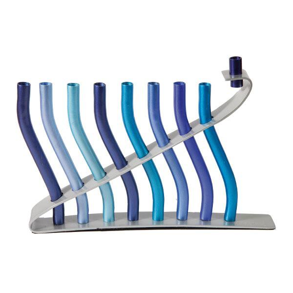 תמונה של חנוכיה - קנים - כחול - HMN-3   יאיר עמנואל